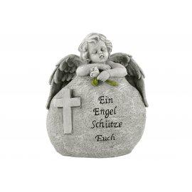 Engel hinter Stein 15x8x18cm