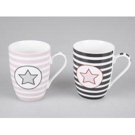 Becher Stern grau/rosa
