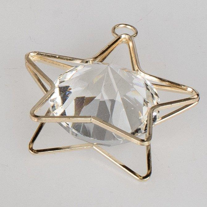Deko-Stern 4cm gold-Kristall