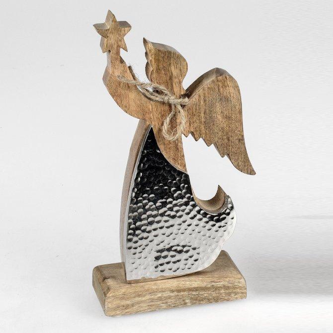 Deko-Engel 25cm Alu Mango-Holz