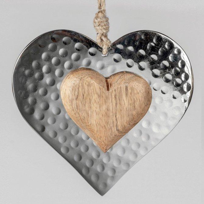Hänger Herz 15cm Alu mit Mango-Holz