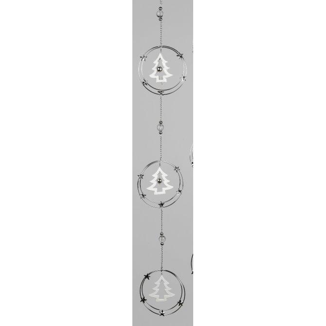 Girlande Kreise 92cm silber-weiß