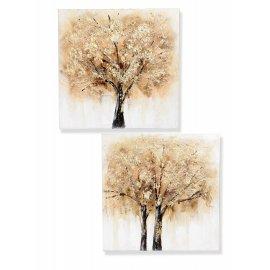 Wandbild 60cm Baum braun-gold