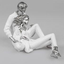Paar sitzend 29cm weiß-silber