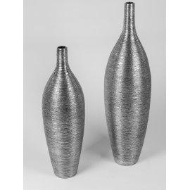 Bodenvase mit Rillenmuster Silber-Metallic