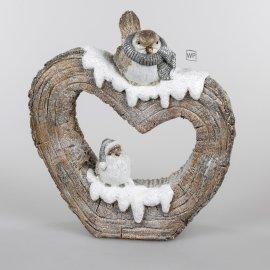 Deko-Herz 43cm Wintervögel