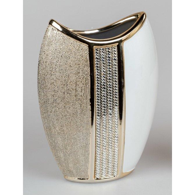 Vase 28cm weiss-gold
