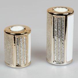 Leuchter weiß-gold