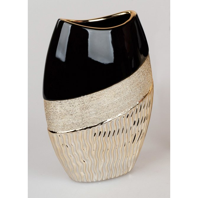 Vase oval Waves gold-schwarz