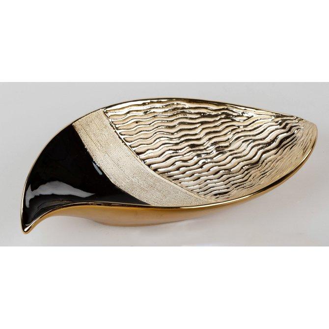 Deko-Schale 36cm Waves schwarz-gold