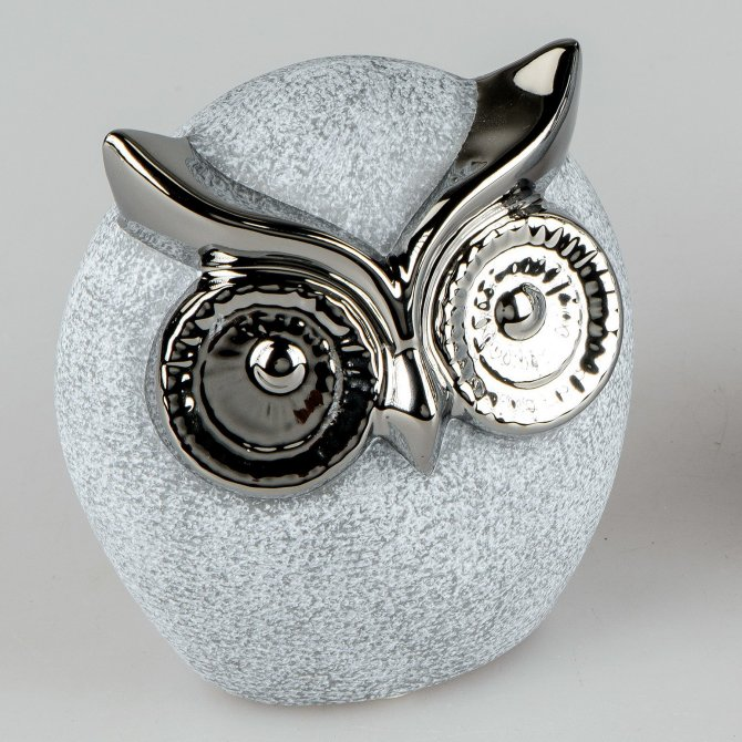 Deko-Eule Stone-silber