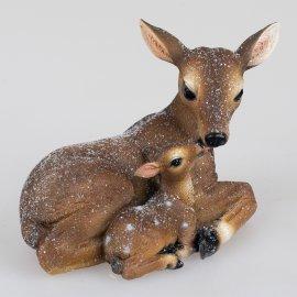 Reh mit Kitz 19cm Winterzeit