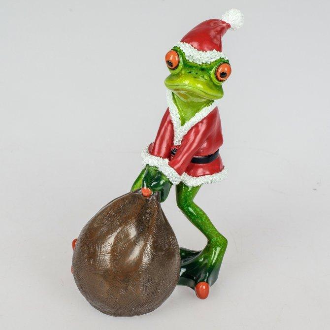 Frosch Weihnachten mit großem Sack