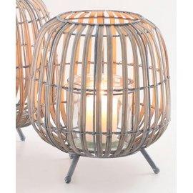 Windlicht Bambus mit Metall, 26,5cm