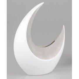 Vase 30cm Halbmond Stone-weiß