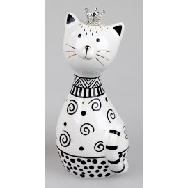 Katze mit Krone hoch 16cm Trend-Style