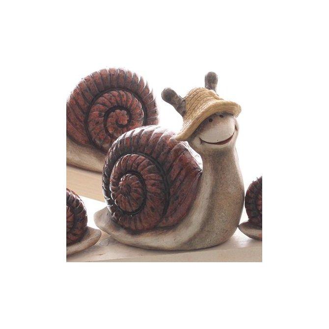 Schnecke mit Hut braun-grau