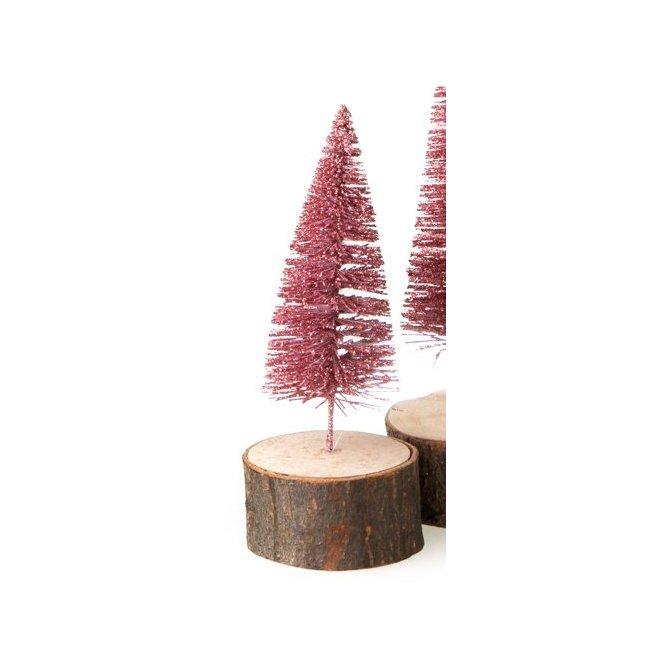 Tanne auf Holzstamm, rosa