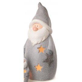Windlicht Santa, grau, 22,5 cm