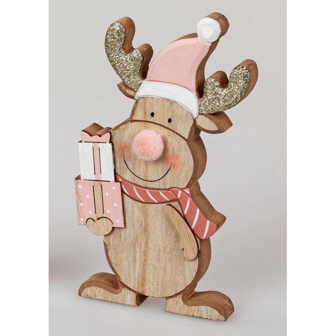Rentier 16cm Holz rosa-gold
