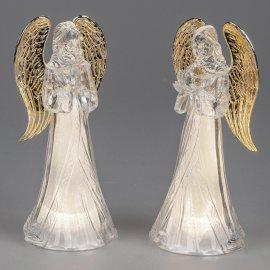 Engel mit Licht 22cm Acryl-gold