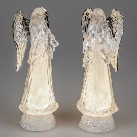 Engel mit Licht 32cm Acryl-silber
