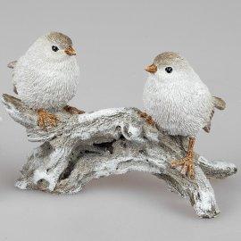 Vogelpaar auf Zweig 21cm Natur-creme