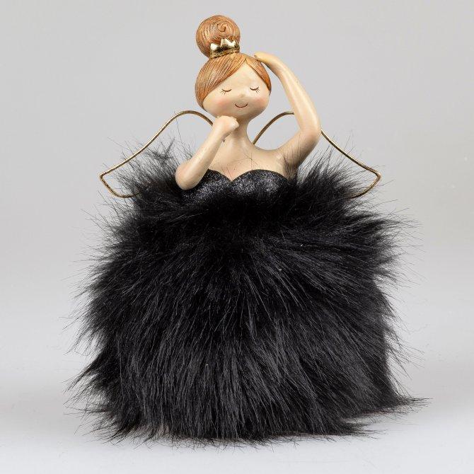 Engel Diva schwarz mit Federn 23cm