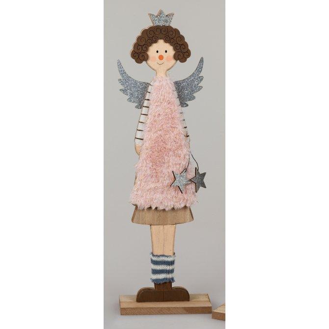Engel 40cm Holz rosa-creme