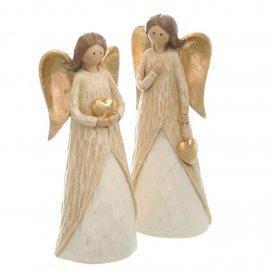 Engel mit Herz 18cm gold-creme