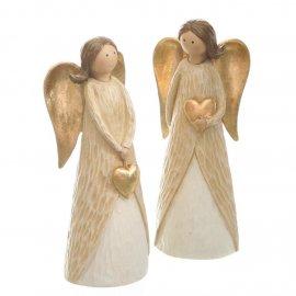 Engel mit Herz 25cm gold-creme
