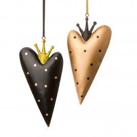 Anhänger Herz schwarz/gold 26 cm