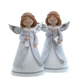 Engel stehend 15cm grau/silber