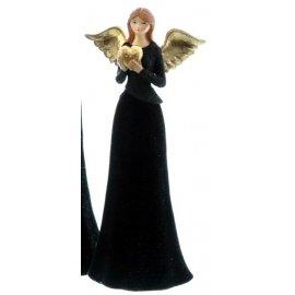 Engel mit Herz schwarz/gold 27cm