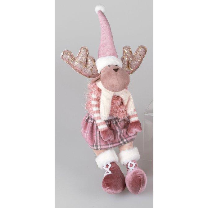 Elch sitzend Textil 60cm rosa-weiß