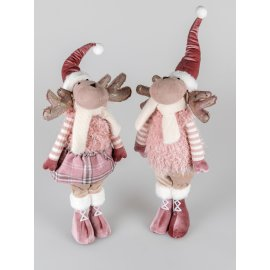 Elch stehend 64cm Textil rosa-weiß
