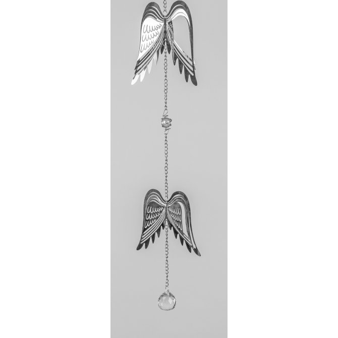 Hängedeko Flügel 60cm Silber-Kristall