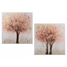 Wandbild 50x50 Baum rosa-gold