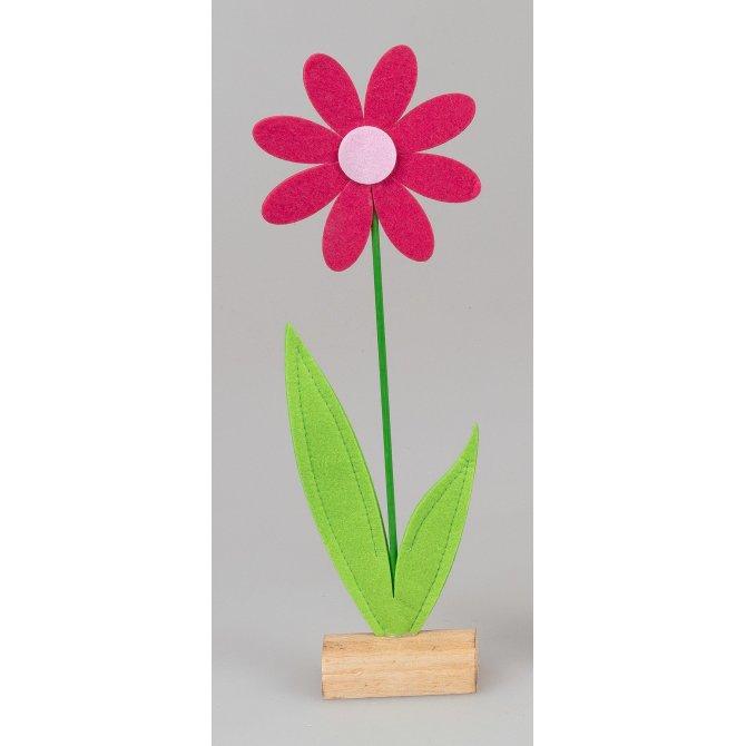 Blume auf Holz 34cm Filz