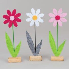 Blume auf Holz 48cm Filz