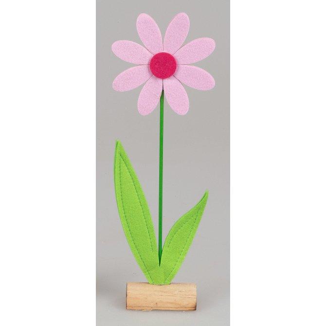 Blume auf Holz 68cm Filz