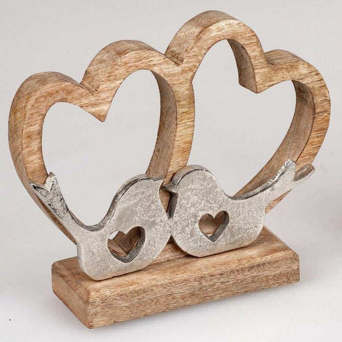 Herzen mit Vögel Alu Mango-Holz