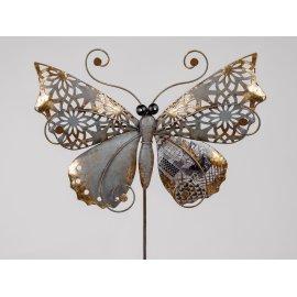 Stecker Schmetterling 114cm Metall schwarz-gold