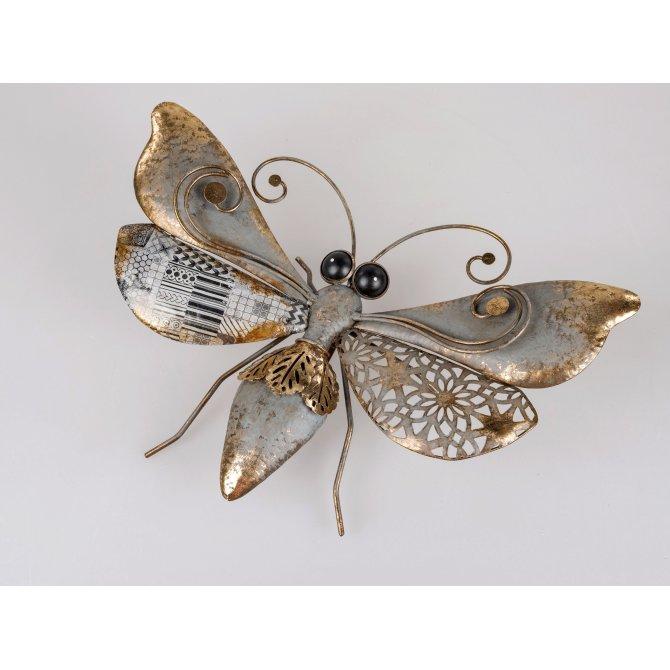 Schmetterling 46cm Metall schwarz-gold