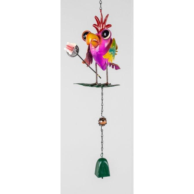 Hänger Vogel mit Glöckchen 40cm Metall bunt