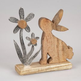 Hase mit Blume 24cm Alu Mango-Holz