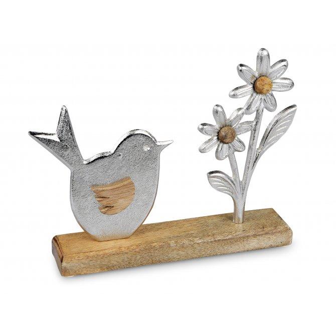 Vogel mit Blume 24cm Alu Mango-Holz