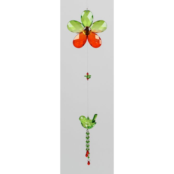 Hängedeko Vogel 46cm Acryl grün rot/rosa