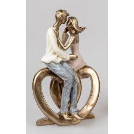 Paar küssend auf Herz 25cm gold Klassik