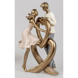 Paar stehend an Herz 25cm gold Klassik